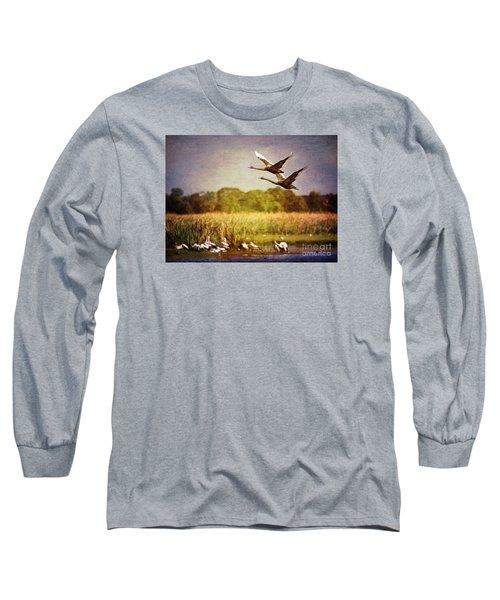 Swans In Flight Long Sleeve T-Shirt by Kym Clarke