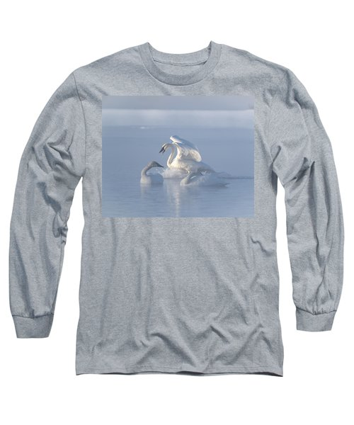 Trumpeter Swans - Three's Company Long Sleeve T-Shirt by Patti Deters