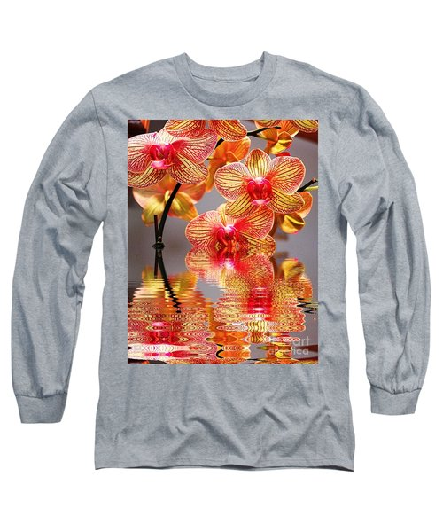 Sweet Orchid Reflection Long Sleeve T-Shirt by Judy Palkimas