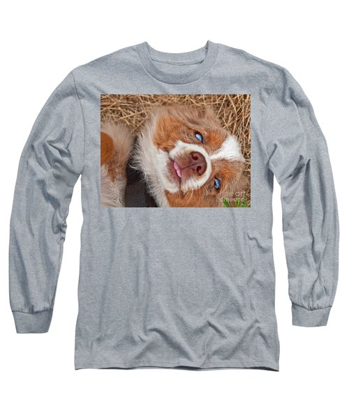 Sweet Australian Shepherd Puppy Face Art Prints Long Sleeve T-Shirt by Valerie Garner