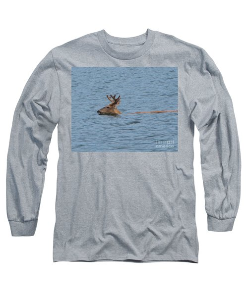 Swimming Deer Long Sleeve T-Shirt by Leone Lund