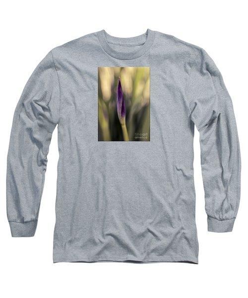 Siberian Iris Bud Long Sleeve T-Shirt by Jean OKeeffe Macro Abundance Art