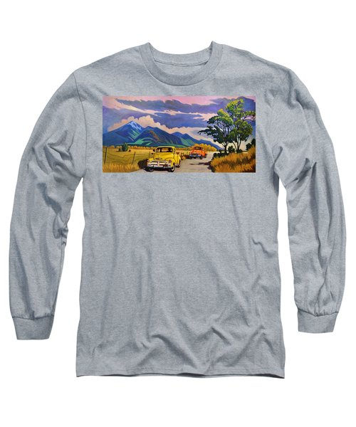 Long Sleeve T-Shirt featuring the painting Taos Joy Ride With Yellow And Orange Trucks by Art West