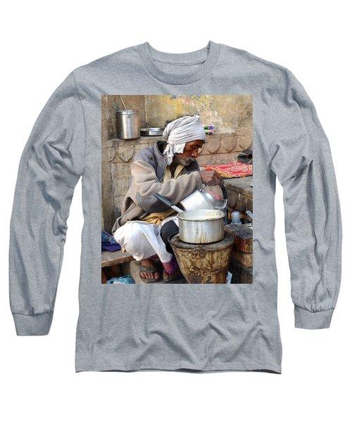 Tea Stall On The Ghats  - Varanasi India Long Sleeve T-Shirt