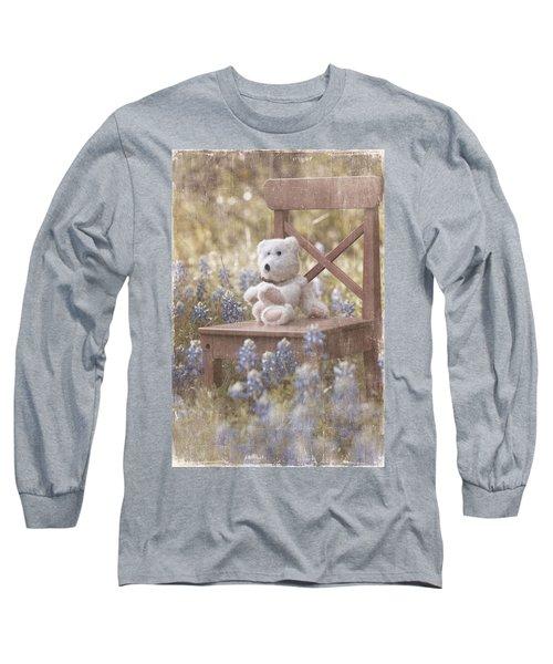 Teddy Bear And Texas Bluebonnets Long Sleeve T-Shirt