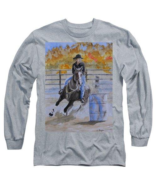 The Barrel Race Long Sleeve T-Shirt by Warren Thompson