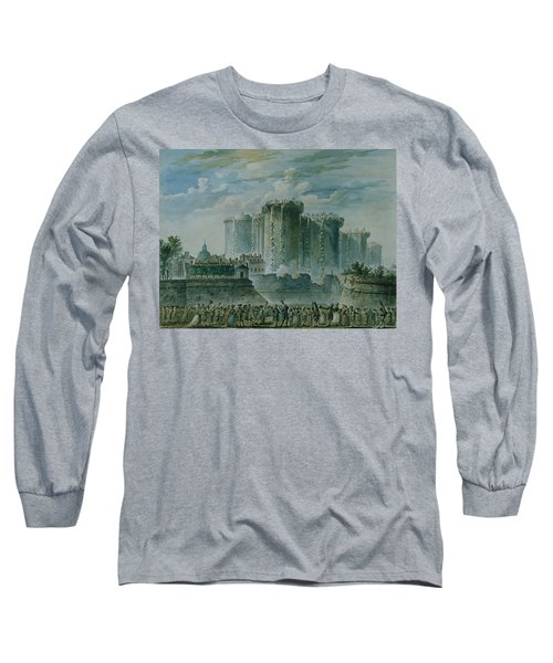 The Destruction Of The Bastille, 14th July 1789 Wc & Gouache On Paper Long Sleeve T-Shirt