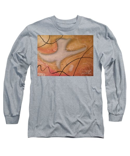 Long Sleeve T-Shirt featuring the painting The Dove Religious Abstract Art By Saribelle  by Saribelle Rodriguez
