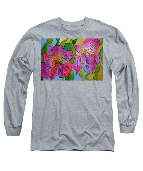 The Electric Kool-aid Alstroemeria Test Long Sleeve T-Shirt by Beverley Harper Tinsley