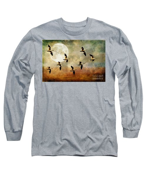 The Flight Of The Snow Geese Long Sleeve T-Shirt by Lois Bryan