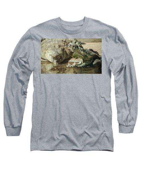 Long Sleeve T-Shirt featuring the photograph The Fool Crocodile by Stwayne Keubrick