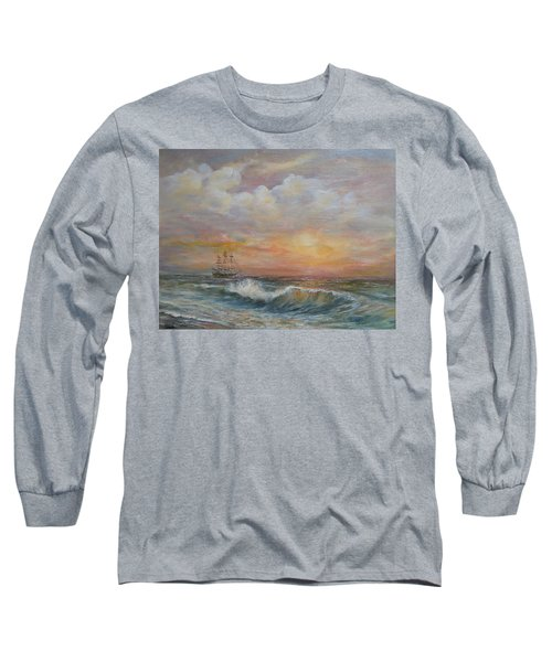 Long Sleeve T-Shirt featuring the painting Sunlit  Frigate by Luczay