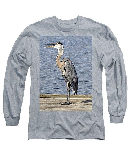 The Great Blue Heron Photo Long Sleeve T-Shirt by Verana Stark