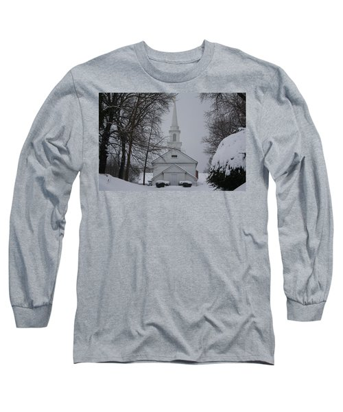 Long Sleeve T-Shirt featuring the photograph The Little White Church by Dora Sofia Caputo Photographic Art and Design