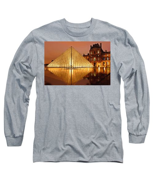 The Louvre By Night Long Sleeve T-Shirt by Ayse Deniz