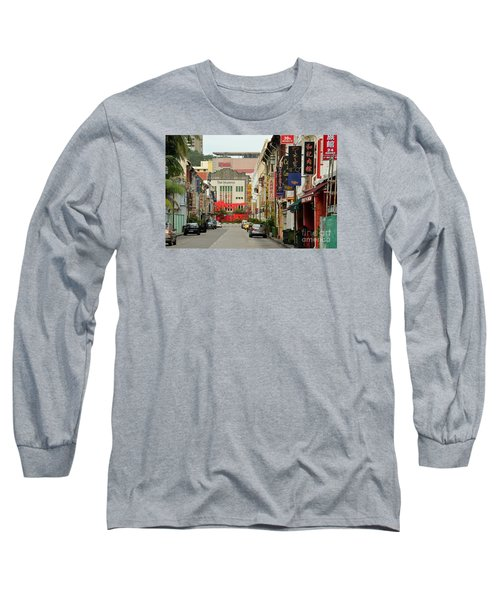 Long Sleeve T-Shirt featuring the photograph The Majestic Theater Chinatown Singapore by Imran Ahmed