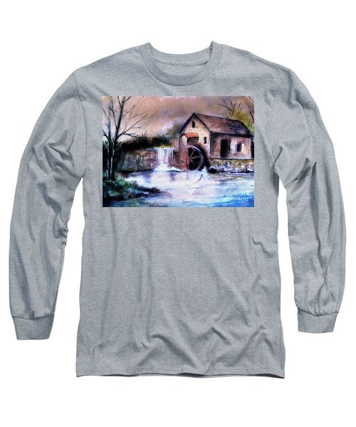 Long Sleeve T-Shirt featuring the painting The Millstream by Hazel Holland