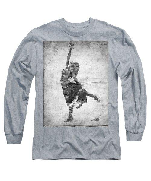 The Music Rushing Through Me Black And White Long Sleeve T-Shirt