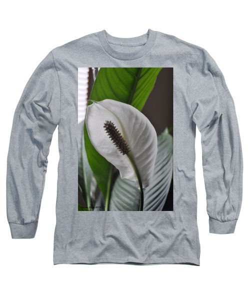 Long Sleeve T-Shirt featuring the photograph The Peace Lily by Verana Stark