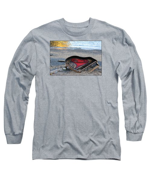 The Piano In New York Harbor Long Sleeve T-Shirt by Dora Sofia Caputo Photographic Art and Design