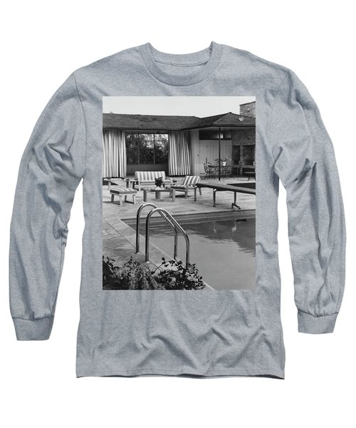 The Pool And Pavilion Of A House Long Sleeve T-Shirt