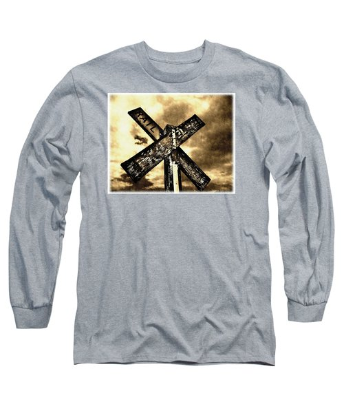The Railroad Crossing Long Sleeve T-Shirt by Glenn McCarthy Art and Photography