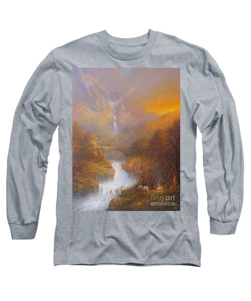 The Road To Rivendell The Lord Of The Rings Tolkien Inspired Art  Long Sleeve T-Shirt by Joe  Gilronan