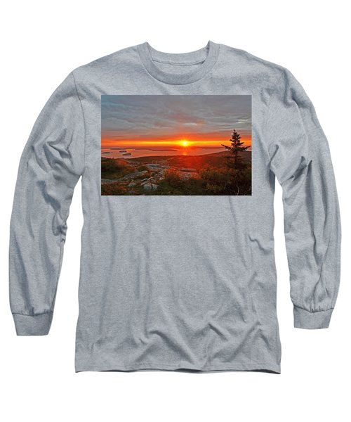 The Sunrise From Cadillac Mountain In Acadia National Park Long Sleeve T-Shirt