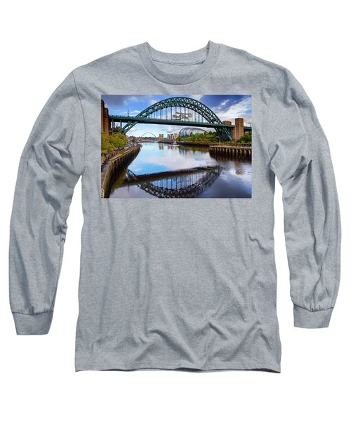 The Tyne Road Bridge With The Sage Long Sleeve T-Shirt