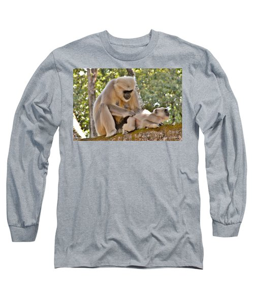 There Is Nothing Like A  Backscratch - Monkeys Rishikesh India Long Sleeve T-Shirt