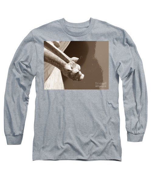 Long Sleeve T-Shirt featuring the photograph Thirsty Gargoyle - Sepia by HEVi FineArt