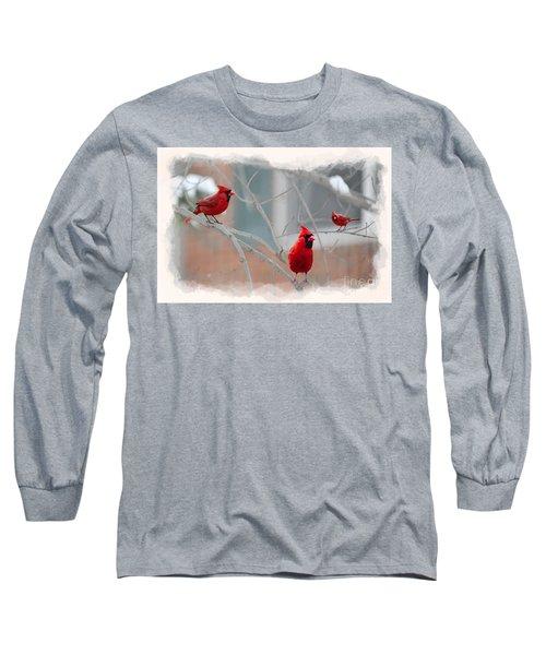 Three Cardinals In A Tree Long Sleeve T-Shirt