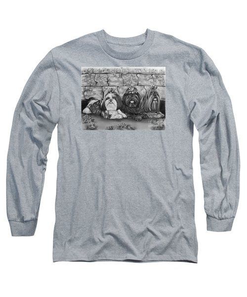 Three Little Shih Tzus Long Sleeve T-Shirt by Lena Auxier
