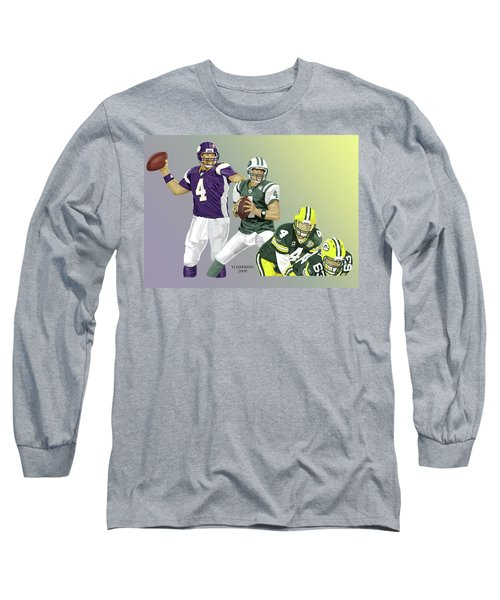 Long Sleeve T-Shirt featuring the digital art Three Stages Of Bret Favre by Thomas J Herring