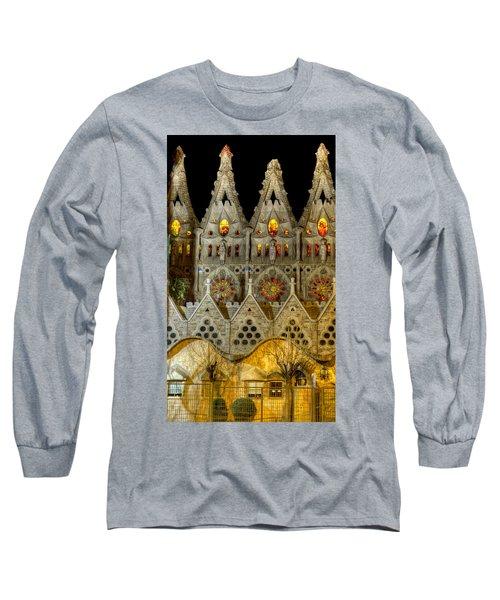 Three Tiers - Sagrada Familia At Night - Gaudi Long Sleeve T-Shirt