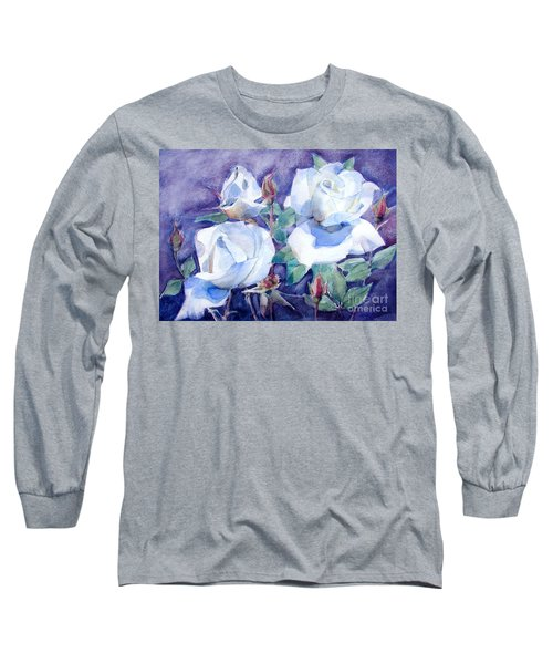 Long Sleeve T-Shirt featuring the painting White Roses With Red Buds On Blue Field by Greta Corens