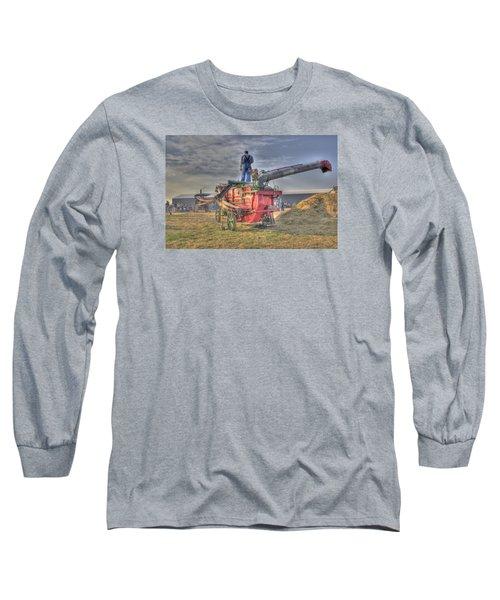 Threshing At Rollag Long Sleeve T-Shirt by Shelly Gunderson