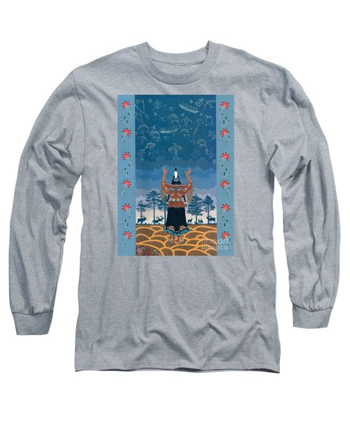 Long Sleeve T-Shirt featuring the painting Thunder Girl II by Chholing Taha