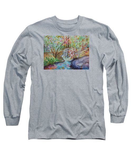 Long Sleeve T-Shirt featuring the painting Thunder Mountain Mystery by Ellen Levinson