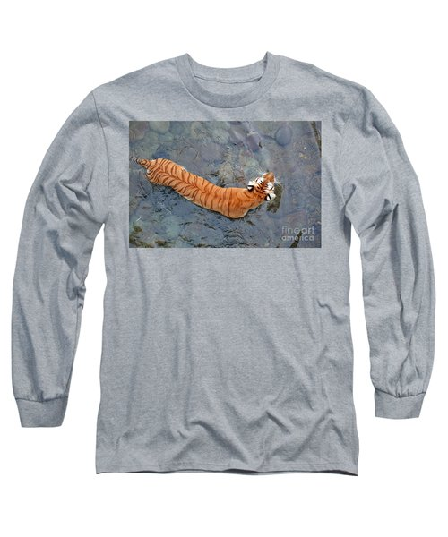 Long Sleeve T-Shirt featuring the photograph Tiger In The Stream by Robert Meanor