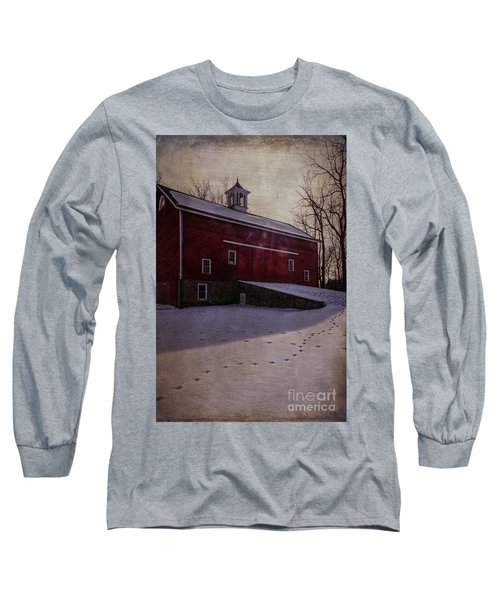 Long Sleeve T-Shirt featuring the photograph Tinicum Barn In Winter by Debra Fedchin