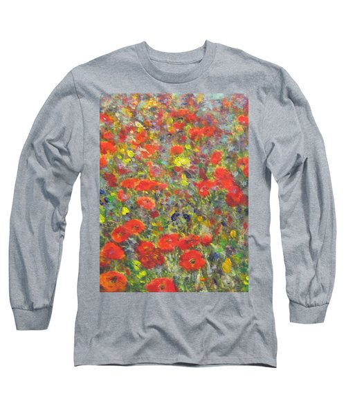 Tiptoe Through A Poppy Field Long Sleeve T-Shirt by Richard James Digance
