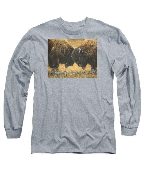 Titans Of The Plains Long Sleeve T-Shirt by Kim Lockman