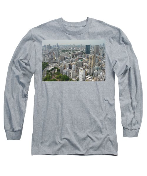 Tokyo Intersection Skyline View From Tokyo Tower Long Sleeve T-Shirt by Jeff at JSJ Photography