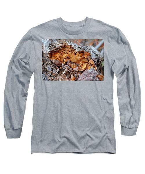 Long Sleeve T-Shirt featuring the photograph Torn Old Log by Ann E Robson