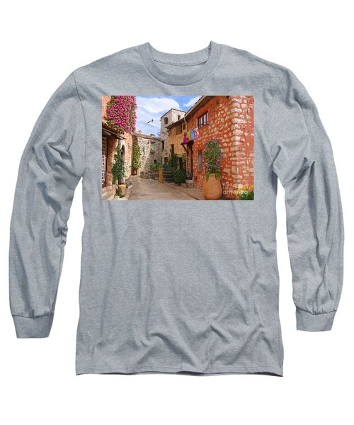 Long Sleeve T-Shirt featuring the painting Tourettes Sur Loup France by Tim Gilliland