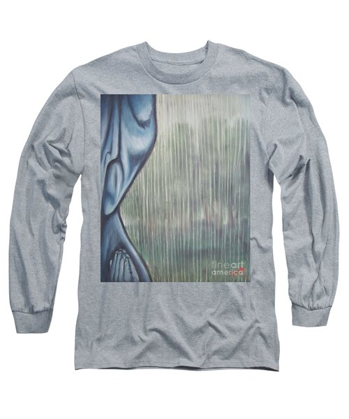 Long Sleeve T-Shirt featuring the painting Tranquil Rain by Michael  TMAD Finney