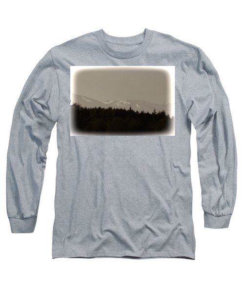 Treeline With Ice Capped Mountains In The Scottish Highlands Long Sleeve T-Shirt