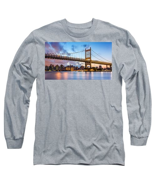Triboro Bridge At Dusk Long Sleeve T-Shirt
