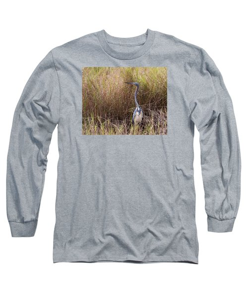 Long Sleeve T-Shirt featuring the photograph Tricolored Heron Peeping Over The Rushes by John M Bailey